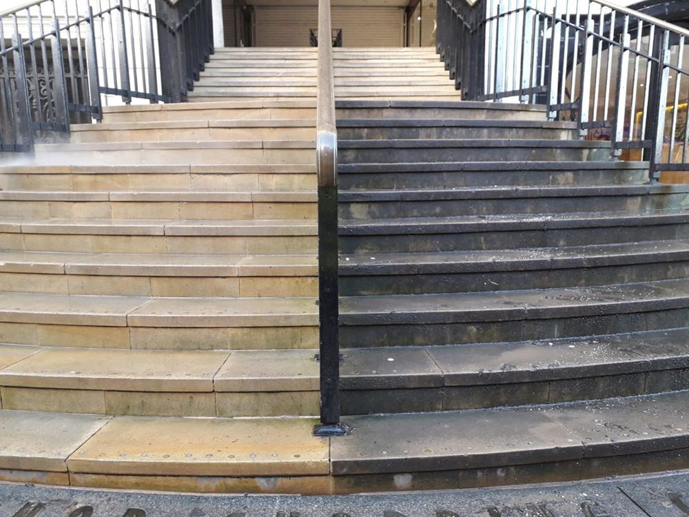 GSC steps, before and after cleaning
